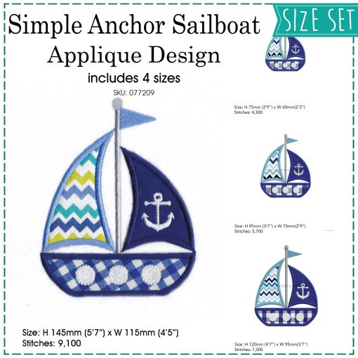 red blue white sailboat 2 sails anchor simple embroidery pattern nautical theme ocean life ships