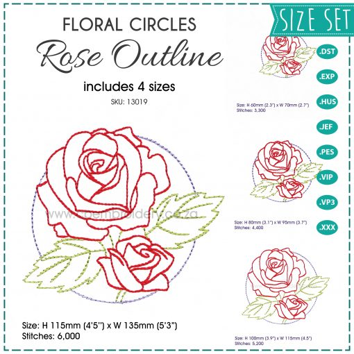 floral circles two 2 red roses outline simple stitch machine embroidery download design set pack 4 sizes
