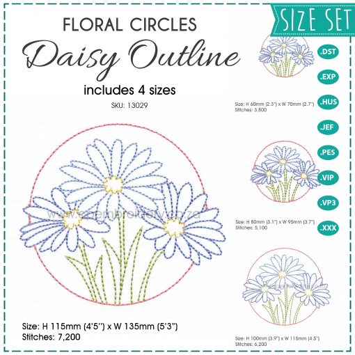 floral circles three lilac purple daisies daisy flower flowers outline simple stitch machine embroidery download design set of pack 4 four sizes