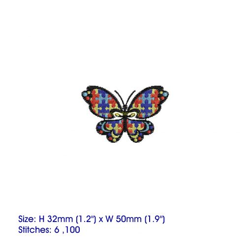 puzzle detail puzzled butterfly embroidery design support autism awareness extra small