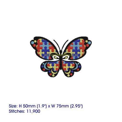 puzzle detail puzzled butterfly embroidery design support autism awareness small
