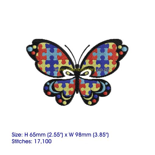puzzle detail puzzled butterfly embroidery design support autism awareness medium
