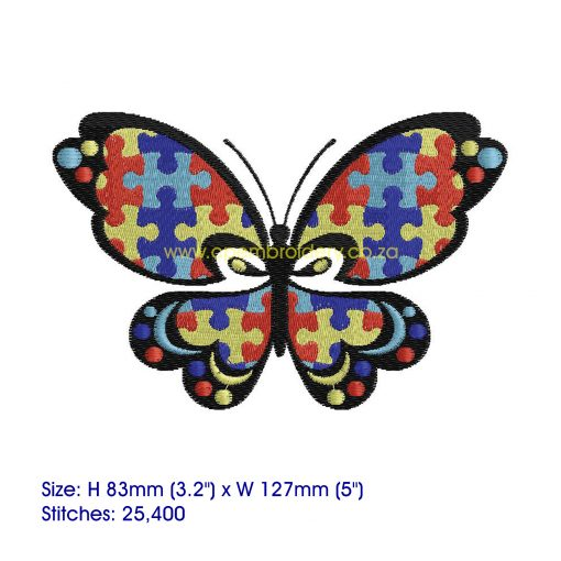 puzzle detail puzzled butterfly embroidery design support autism awareness large