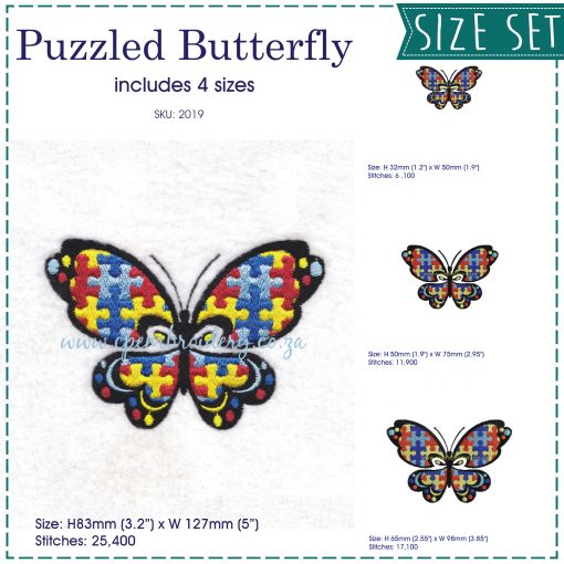 puzzle detail puzzled butterfly embroidery design support autism awareness set pack 4 sizes included