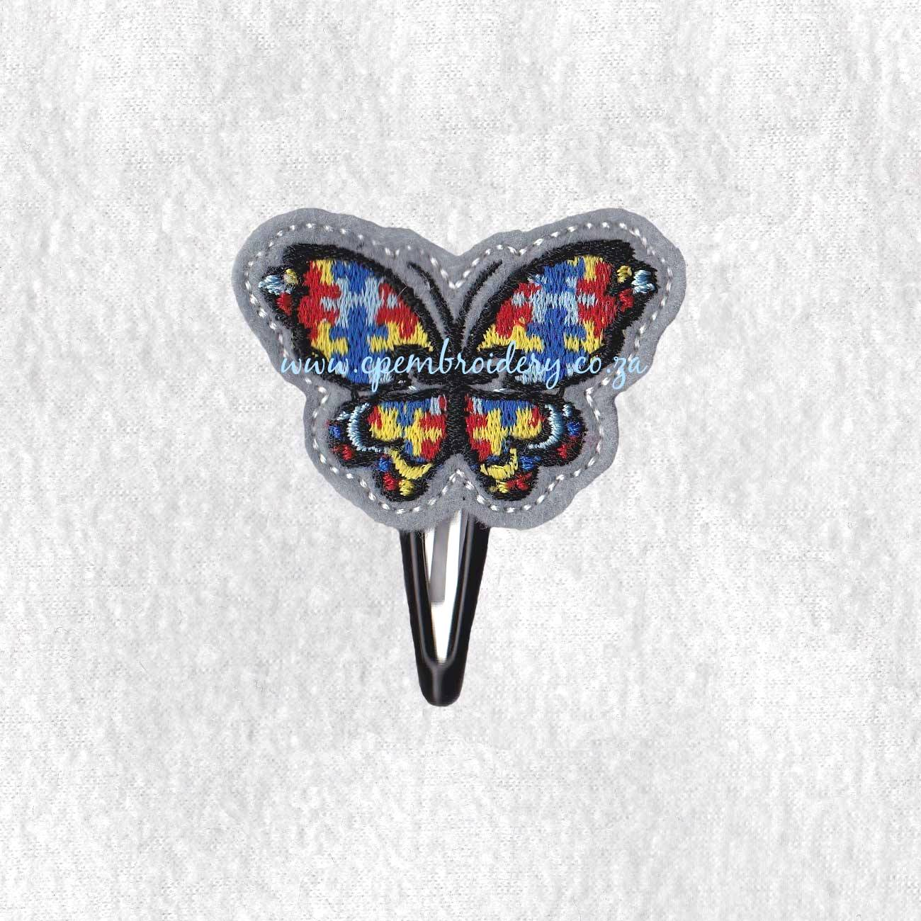 puzzle detail puzzled butterfly embroidery design support autism awareness feltie
