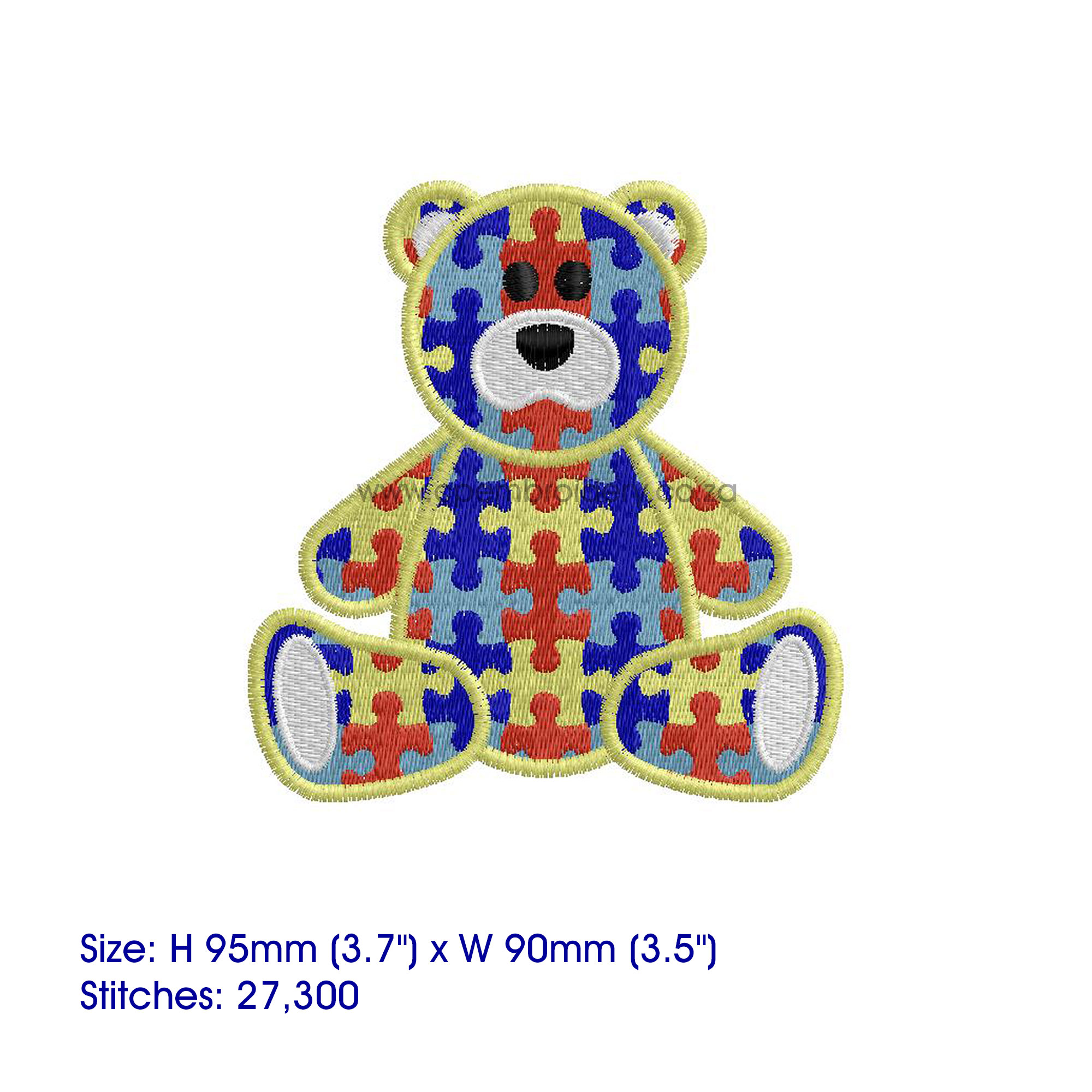 sit sitting colored colorful puzzle detail puzzled teddy bear embroidery design support autism awareness medium