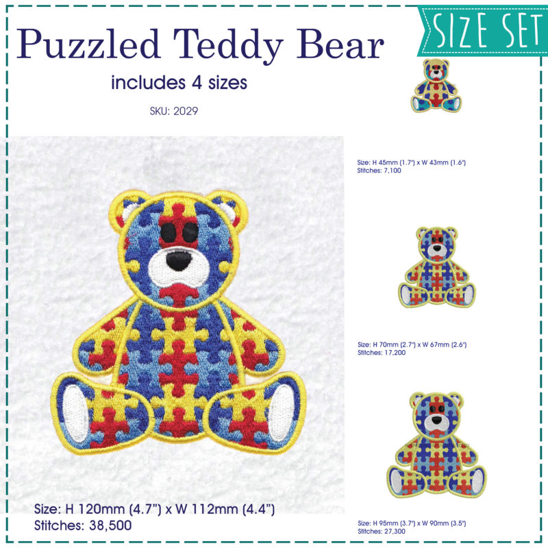 sit sitting colored colorful puzzle detail puzzled teddy bear embroidery design support autism awareness set pack 4 sizes