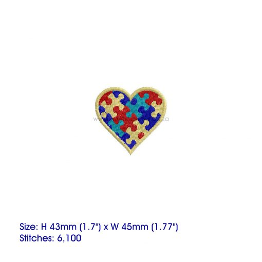 colored colorful puzzle detail puzzled heart embroidery design support autism awareness extra small