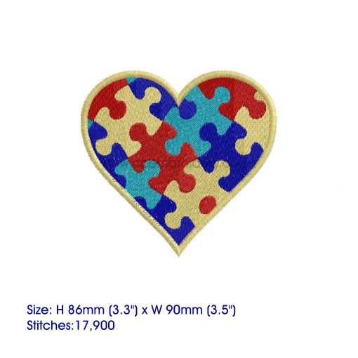 colored colorful puzzle detail puzzled heart embroidery design support autism awareness medium