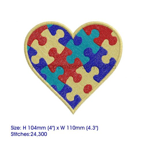 colored colorful puzzle detail puzzled heart embroidery design support autism awareness large