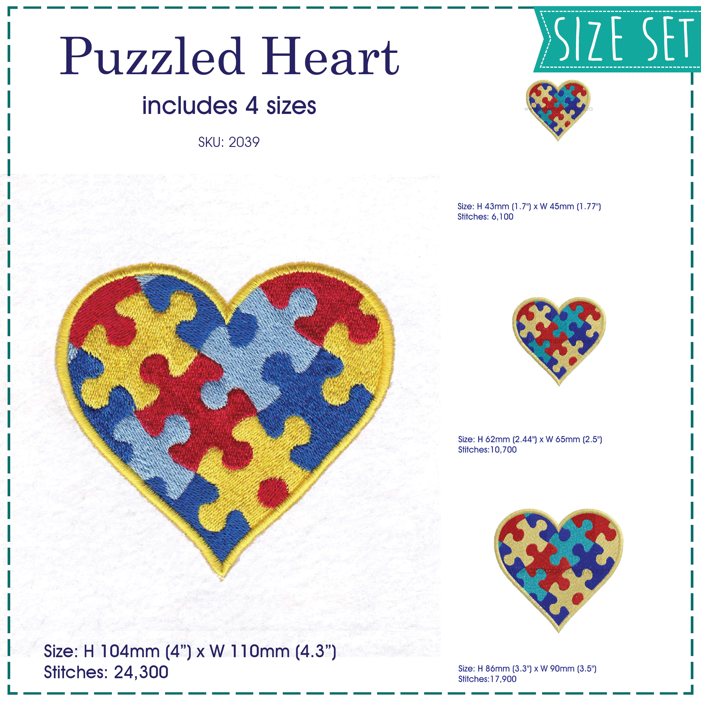 colored colorful puzzle detail puzzled heart embroidery design support autism awareness set pack sizes