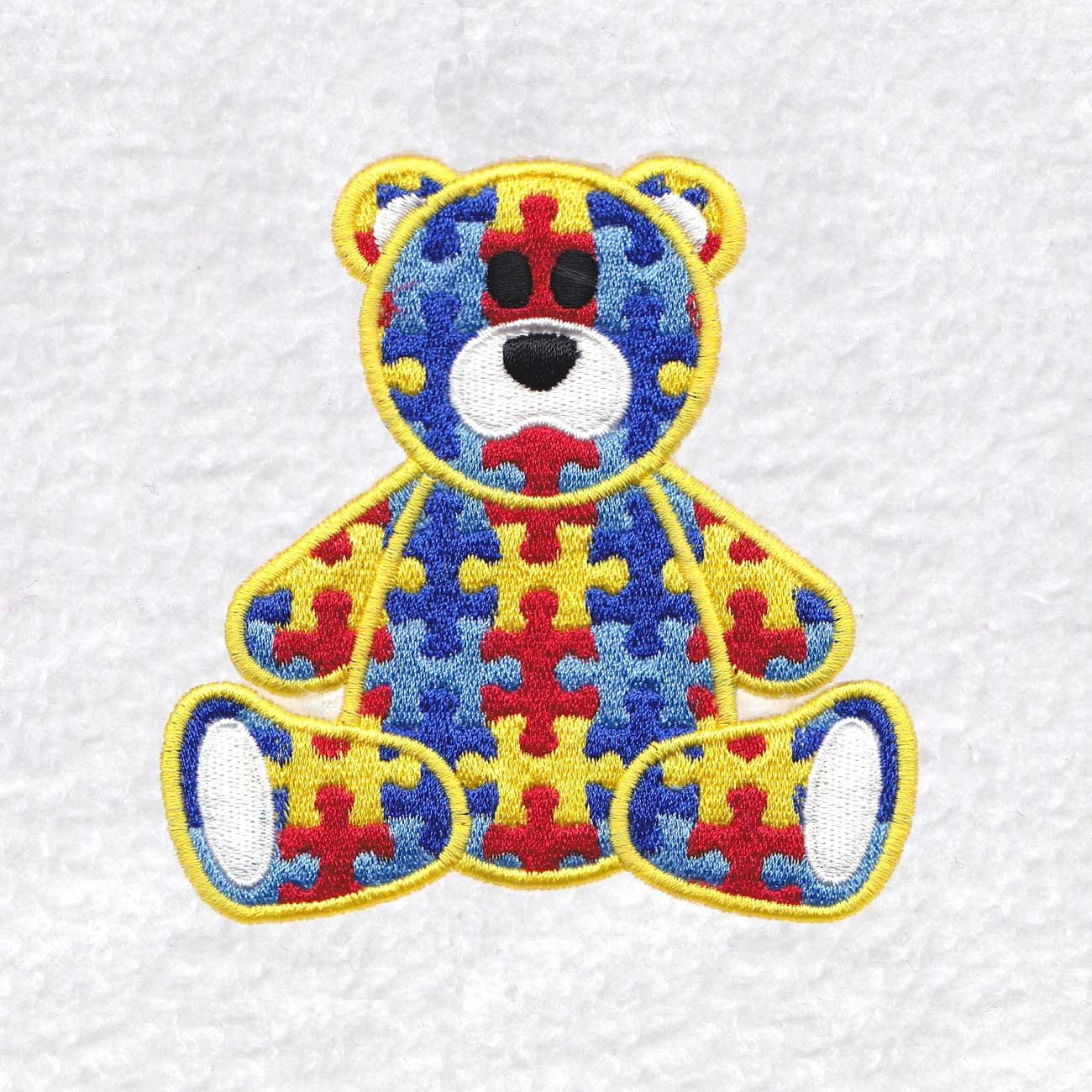 sit sitting colored colorful puzzle detail puzzled teddy teddie bear embroidery design support autism awareness sizes large medium small feltie