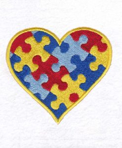 colored colorful puzzle detail puzzled heart embroidery design support autism awareness