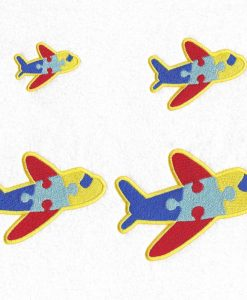 colored colorful puzzle detail puzzled plane embroidery design support autism awareness set pack sizes