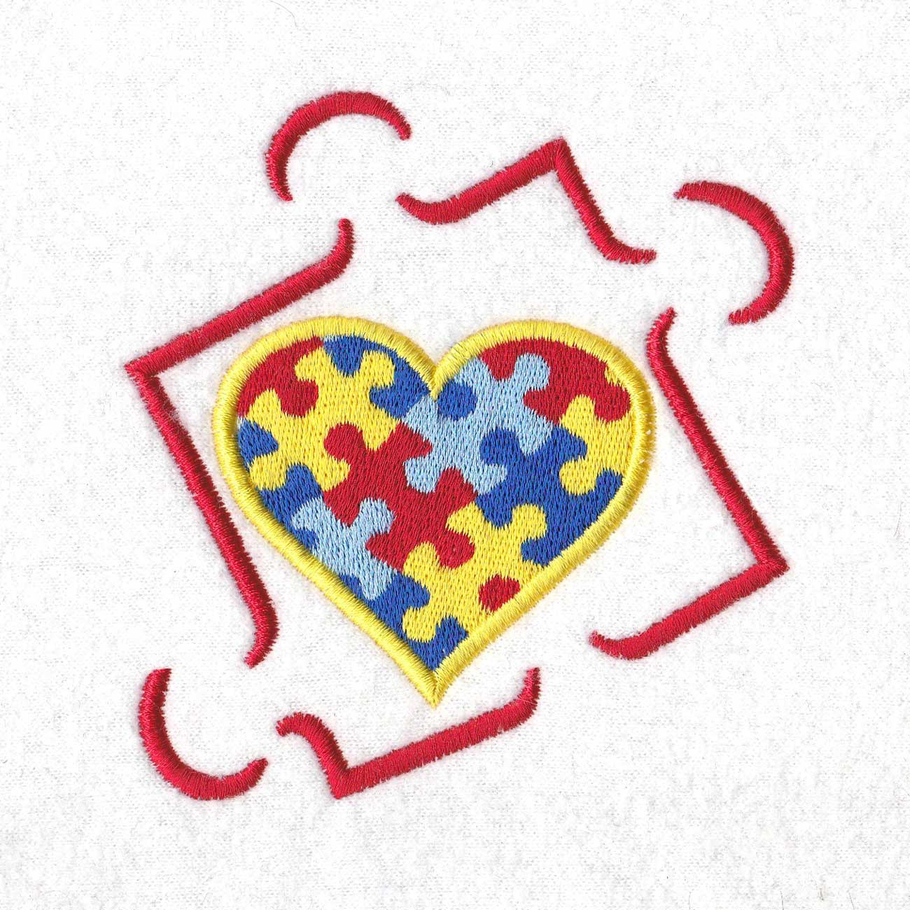 colored colorful puzzle detail puzzle piece border puzzled heart middle embroidery design support autism awareness