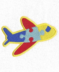 colored colorful puzzle detail puzzled plane embroidery design support autism awareness
