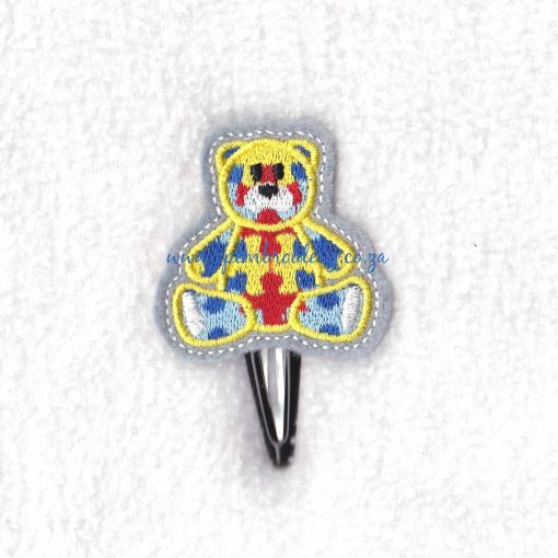 sit sitting puzzle detail puzzled teddy bear teddie embroidery design support autism awareness feltie