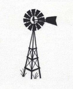 full stitch winged simple farm windmill windpomp black plaas water windpomp machine embroidery design