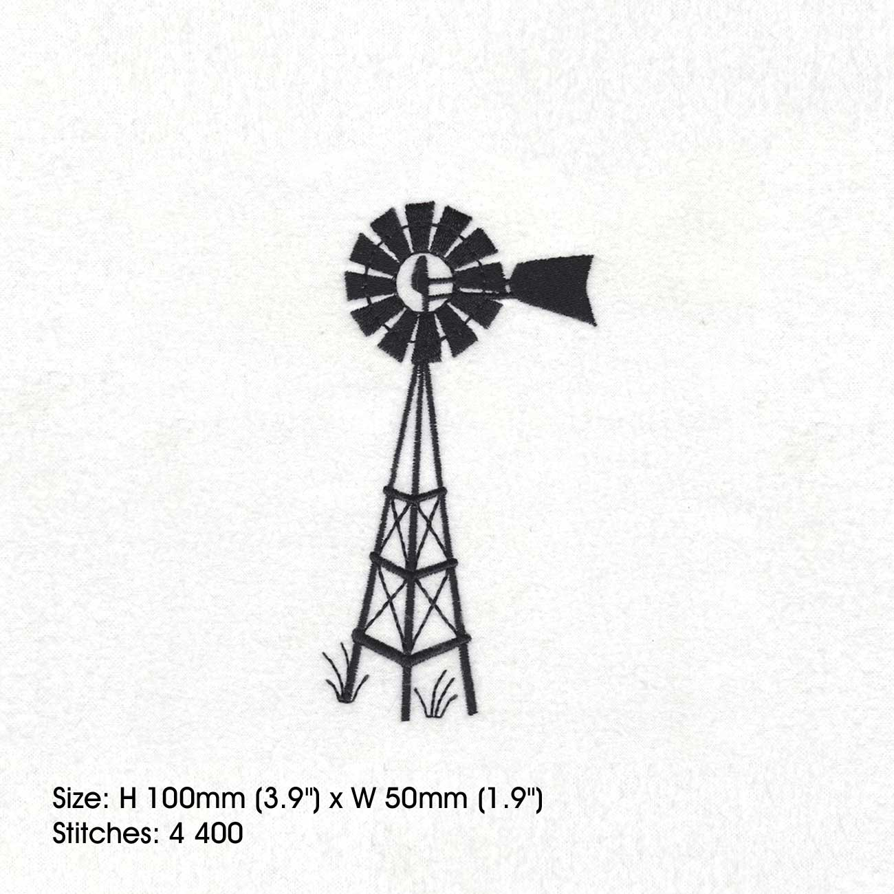 Full Stitches Simple Farm Windmill Windpomp Black Plaas Water With Wing Fin Finned Machine Embroidery