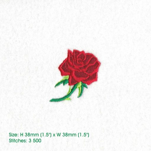 red abstract rose stem stemmed green leaf leaves thorn rose machine embroidery design extra small