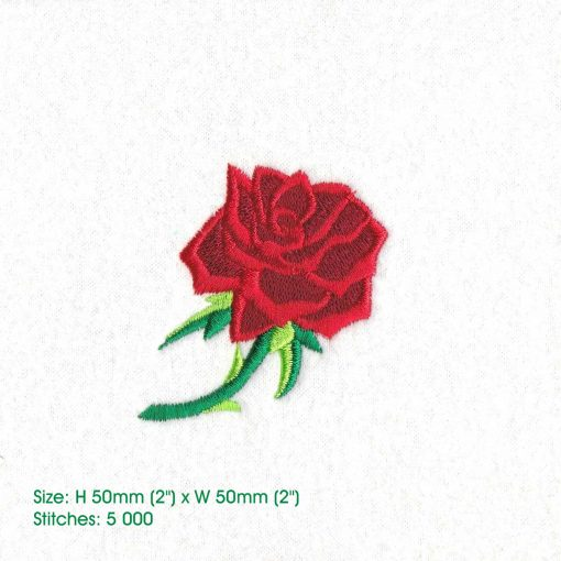 red abstract rose stem stemmed green leaf leaves thorn rose machine embroidery design small