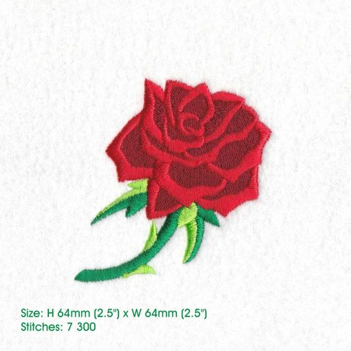 red abstract rose stem stemmed green leaf leaves thorn rose machine embroidery design medium