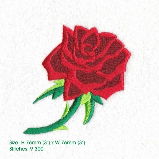 red abstract rose stem stemmed green leaf leaves thorn rose machine embroidery design large