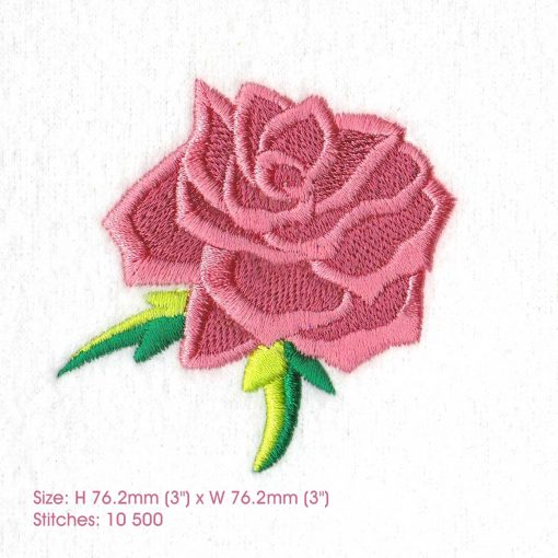 abstract rose single alone free standing green leaf leaves rose machine embroidery design large