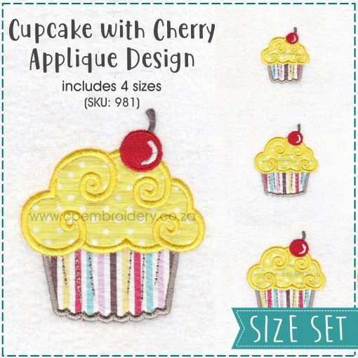 set pack sizes extra small small medium large cupcake cookie iced icing red cherry decorated applique embroidery design