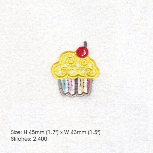 extra small cupcake cookie iced icing red cherry decorated applique embroidery design