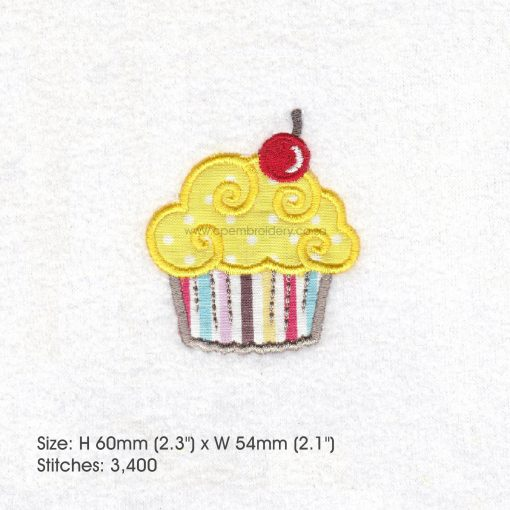 small cupcake cupcake cookie iced icing red cherry decorated applique embroidery design
