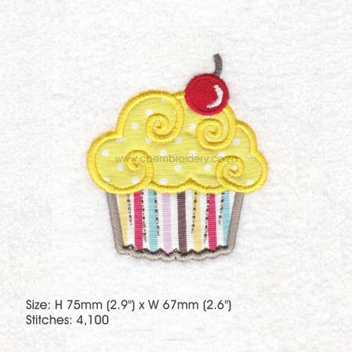 medium cupcake cookie iced icing red cherry decorated applique embroidery design