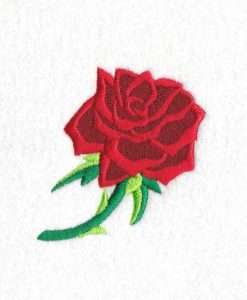 red abstract rose stem stemmed green leaf leaves thorn rose machine embroidery design size set feltie extra small small medium large feltie