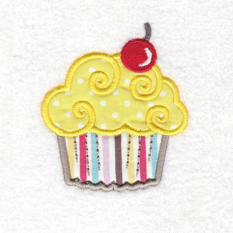 cupcake cookie iced icing red cherry decorated applique embroidery design