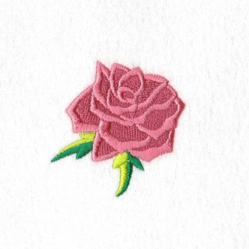 abstract rose single alone free standing green leaf leaves rose machine embroidery design extra small