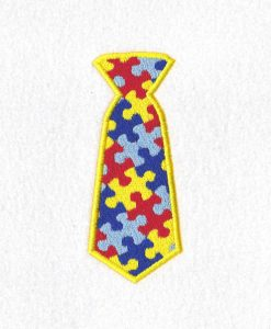 interlocking colored colorful puzzle detail pieces puzzled support mens neck tie embroidery design support autism awareness