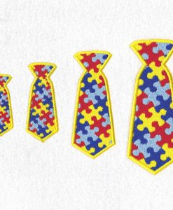 interlocking colored colorful puzzle detail pieces puzzled support mens neck tie embroidery design support autism awareness size set pack