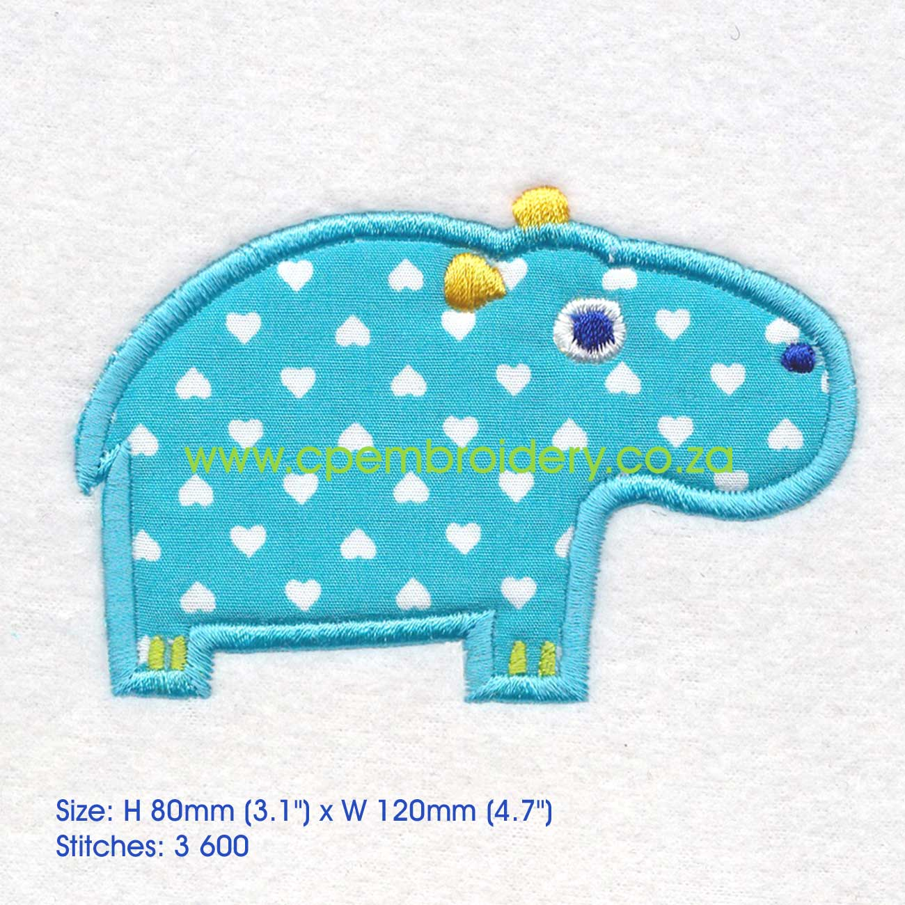 Hippo african animal appliqu� couture princess embroidery