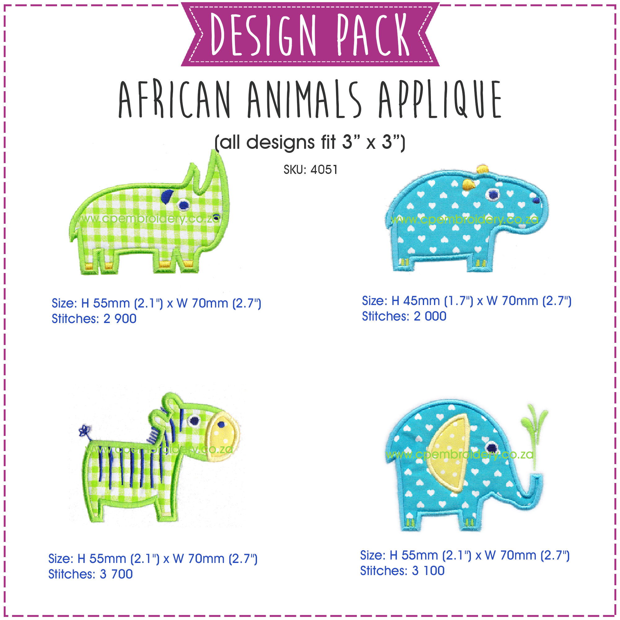 embroidery design pattern for machine pack small rhino hippo zebra elephant applique