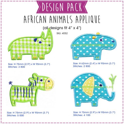 instant download machine embroidery design pack rhino hippo zebra elephant medium