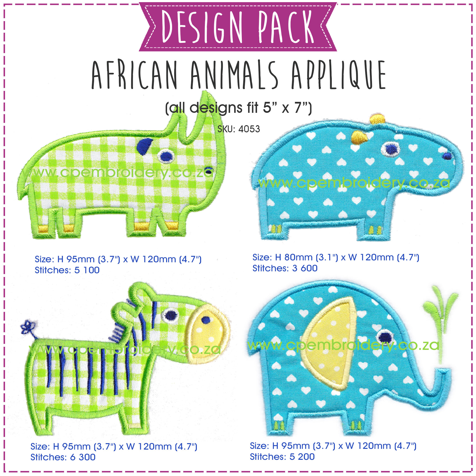 instant download machine embroidery design pack rhino hippo zebra elephant large