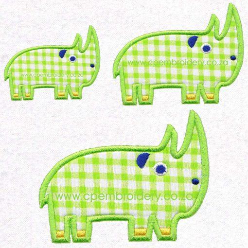 applique african animals zoo safari rhino renoster instant download machine embroidery design set sizes