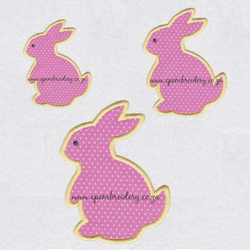 bunny rabbit hare appliqué haas hasie easter paashaas embroidery design borduur ontwerp small medium large size set pack
