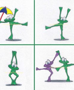 dancing green friendly smiling frog pair holding hands leg up purple lilac green arms up holding hands