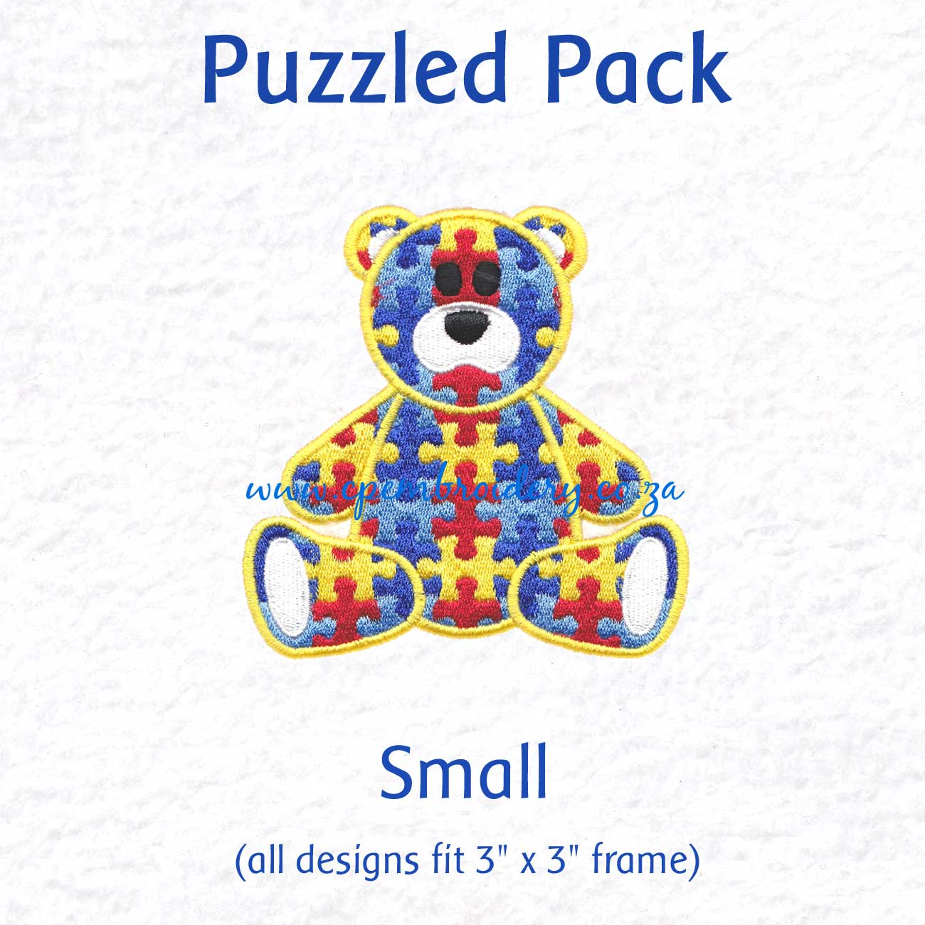 various interlocking colored colorful puzzle detail pieces puzzled support embroidery design support autism awareness pack small