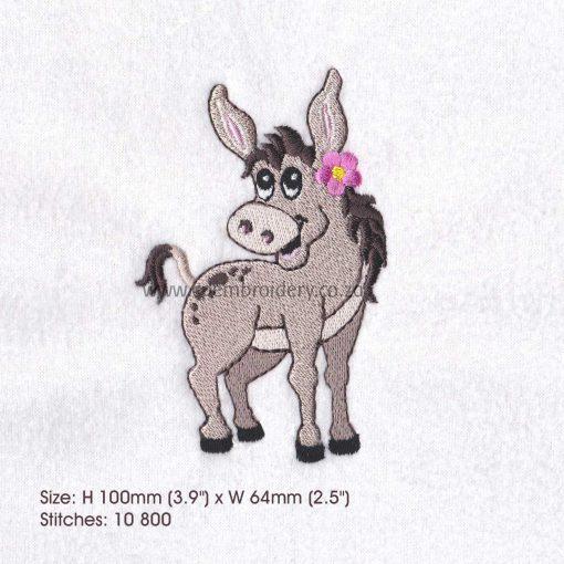 donkey girl pink flower smiling embroidery design medium