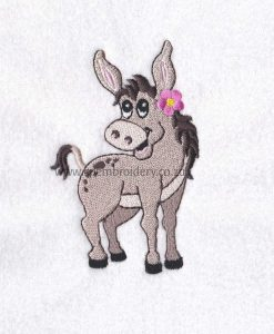 donkey girl pink flower smiling embroidery design