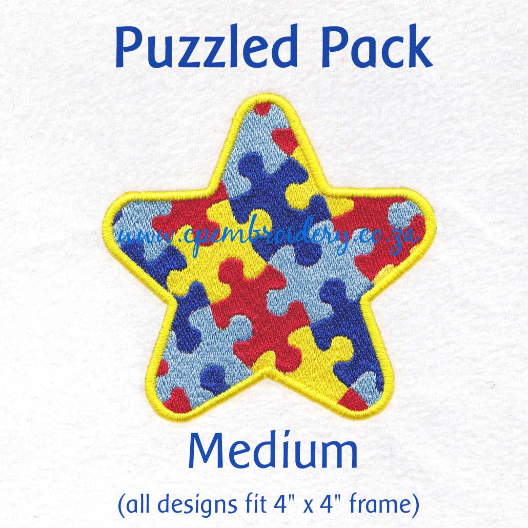 various interlocking colored colorful puzzle detail pieces puzzled support embroidery design support autism awareness pack medium