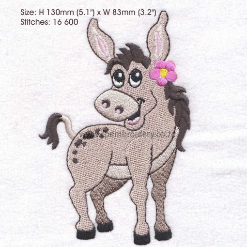 donkey girl pink flower smiling embroidery design large
