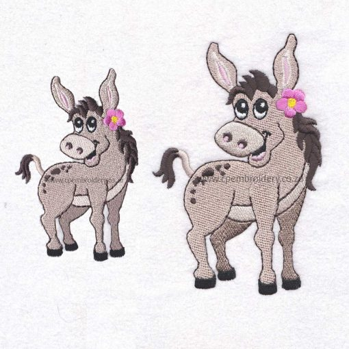 donkey girl pink flower smiling embroidery design large medium pair size set